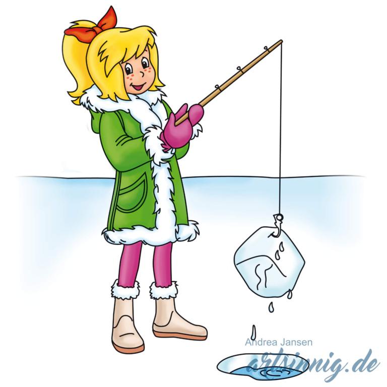 Bibi Blocksberg steht auf dem Eis und angelt einen Eiswürfel.
