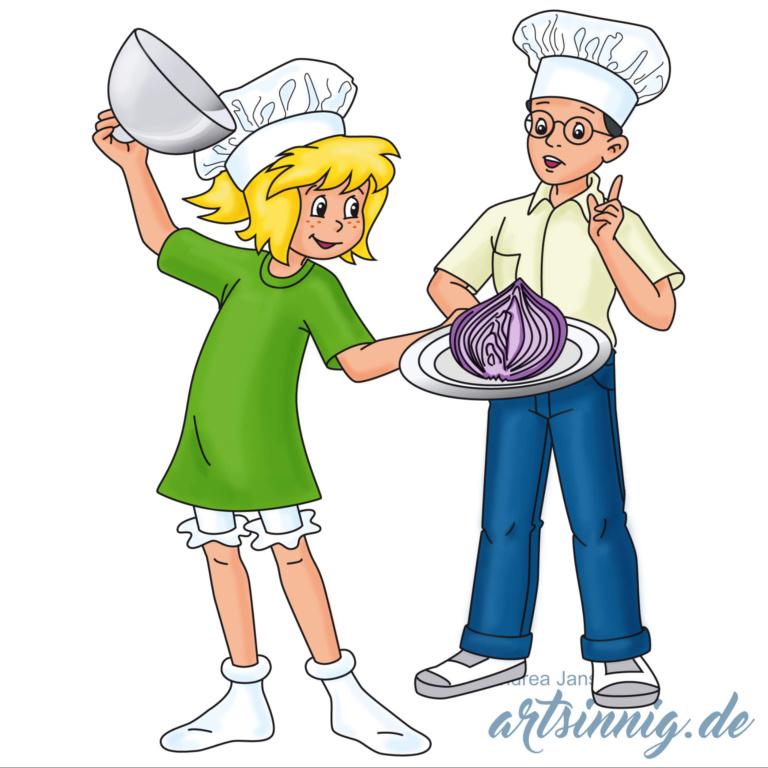 Bibi Blocksberg serviert eine große Zwiebel auf einem Teller. Dahinter steht Florian.