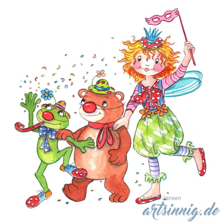 Prinzessin Lillifee läuft mit Bruno und Carlos im Gänsemarsch. Alle haben Faschingskostüme an.Faschingssgskostüm