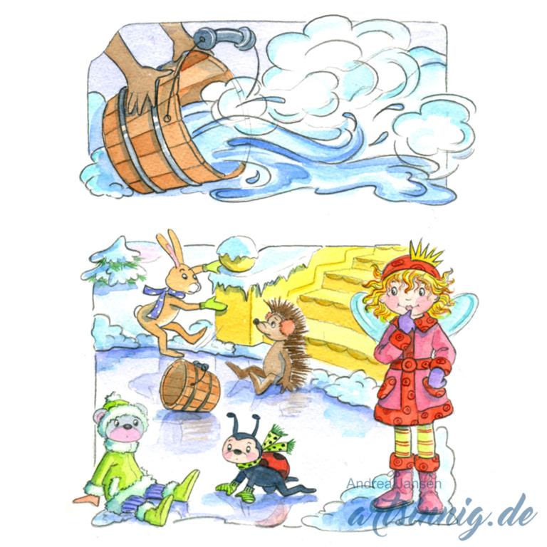 Seite einer Prinzessin Lillifee Bildergeschichte auf dem Eis. Die Freunde rutchen aus.
