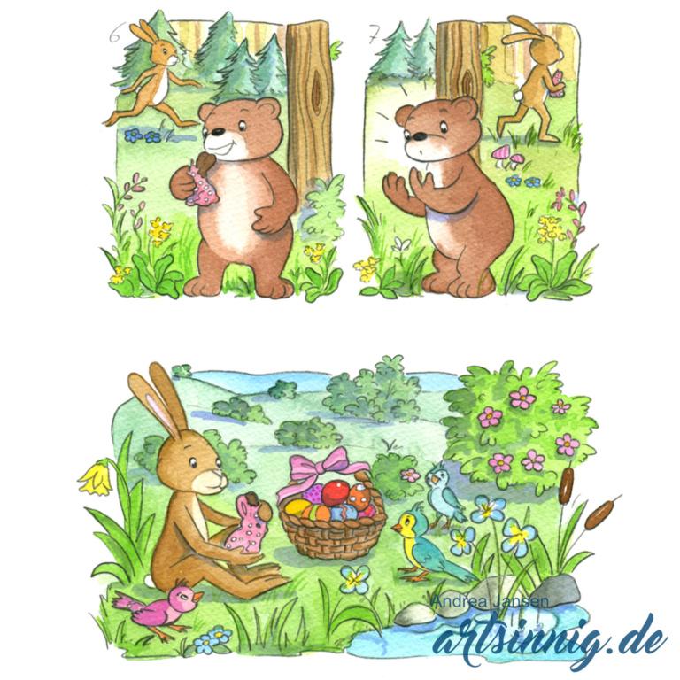 Seite einer Prinzessin Lillifee Bildergeschichte im Wald mit Bruno und Henry zu Ostern