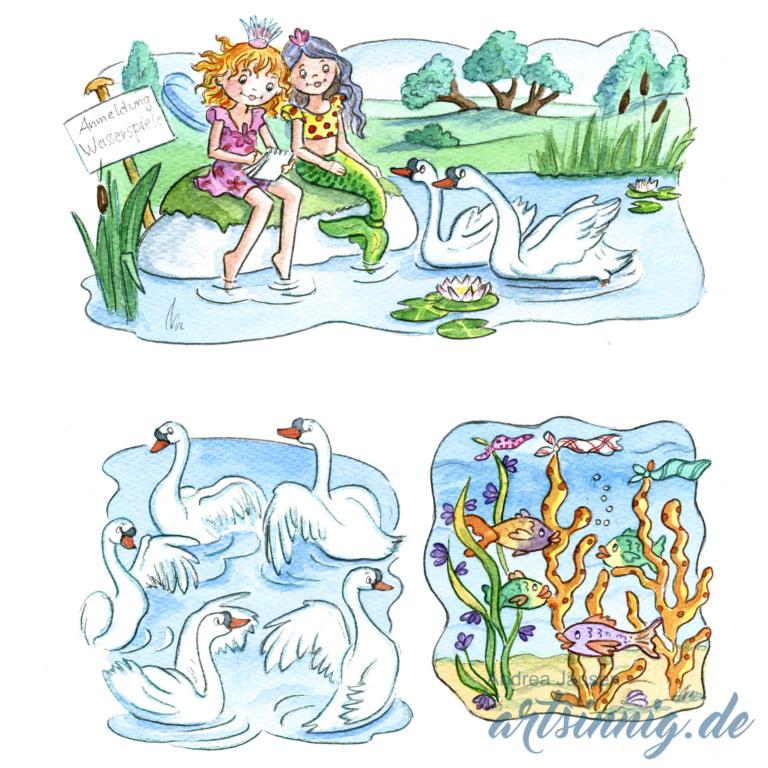 Seite einer Prinzessin Lillifee Bildergeschichte am See mit Schwänen