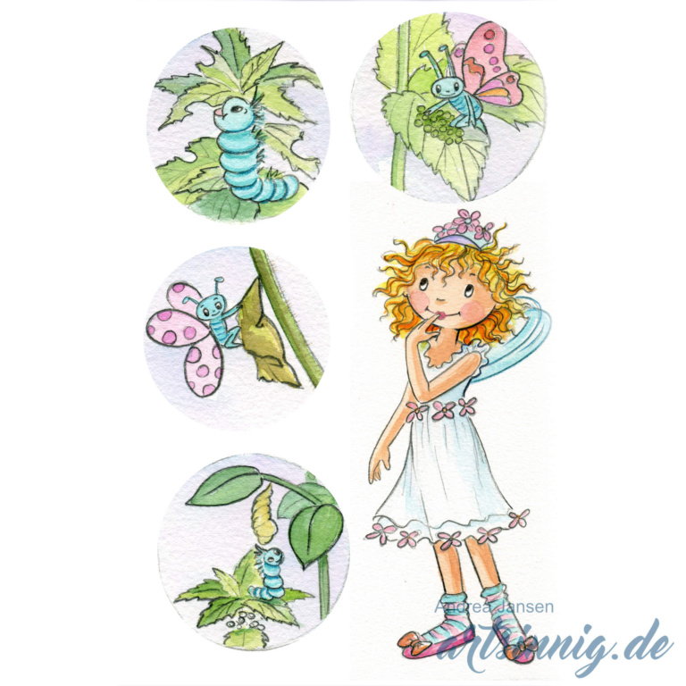 Prinzessin Lillifee im weißen Sommerkleid und vier kleine Bilder einer Schmetterlingsraupe