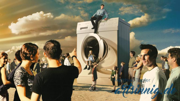 Fotomontage Miele Waschmaschine mit vielen Bewunderern