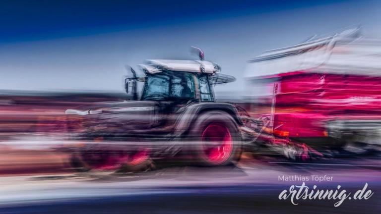 slow shutter speed Landwirtschaft Arbeit mit dem Traktor